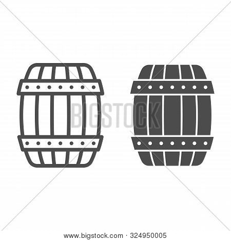Wooden Barrel Line And Glyph Icon. Cask Of Beer Vector Illustration Isolated On White. Keg Outline S