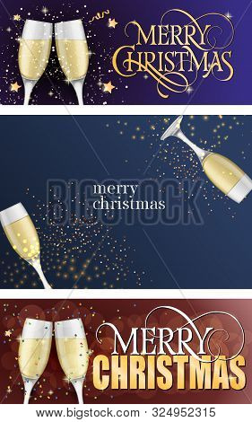 Merry Christmas Banner Set With Champagne Glasses And Confetti. Calligraphy With Decorative Design C
