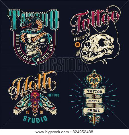 Vintage Tattoo Studio Colorful Emblems With Cat Skull Death Head Moth Ribbon Around Filigree Medieva