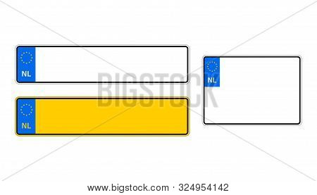 Vehicle Registration Plates Of Netherlands. Eu Country Identifier. Blue Band On License Plates. Vect