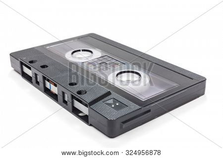 Compact audio cassette tape on a white background