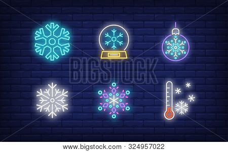 Winter Neon Sign Set With Snowflakes, Bauble, Thermometer, Snow Globe. Vector Illustration In Neon S