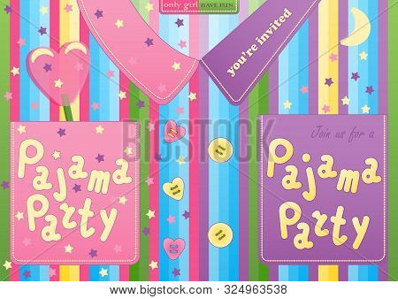Pajama Sleepover Party Card In The Form Of Pajamas For Boy And Girl - Set. Slumber Party Invitation
