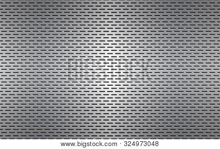 Structured Silver Perforated Metal Texture, Aluminium Grating, Abstract Metallic Background, Vector