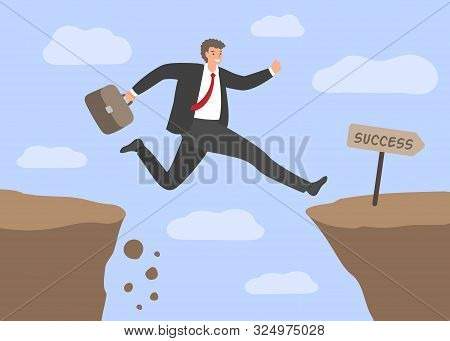 Challenges And Success . Businessman Jumping Over The Abyss. Concept Of Business Risks, Overcoming O