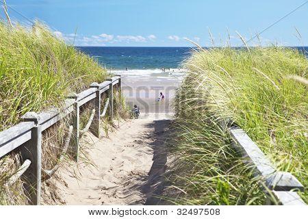 Path to the beach at Basin Head, Prince Edward Island, Canada.