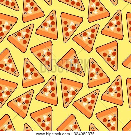 Seamless Trendy Pizza Slices Pattern. Cute  Pizza. For Fabric, Wallpapers, Wrapping Paper, Cards And