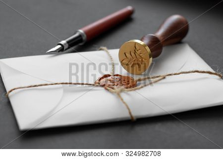 Notary Public Wax Stamper. White Envelope With Brown Wax Seal, Golden Stamp. Responsive Design Mocku