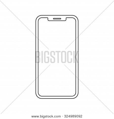 Smartphone Mockup Modern Linear Design On White Background. Mobile Phone Smartphone Device Gadget. M