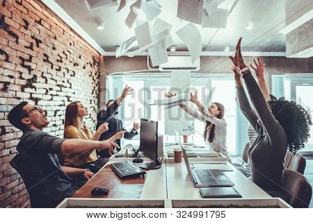 Teamwork Business People Excited Happy Smile, Throw Papers And Documents Fly In Air. Success Team Co