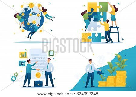 Set Flat 2d Concepts Teamwork, Investment Company, Investment And Growth, Business Agreement.. For C