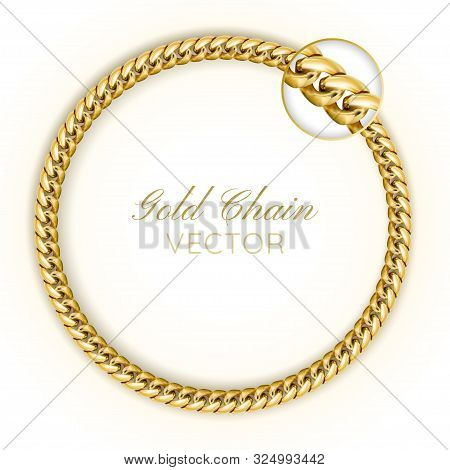 3d Realistic Vector Gold Chain. Gold Chain Round Wreaths For Use As A Decorative Element. Luxury Bac