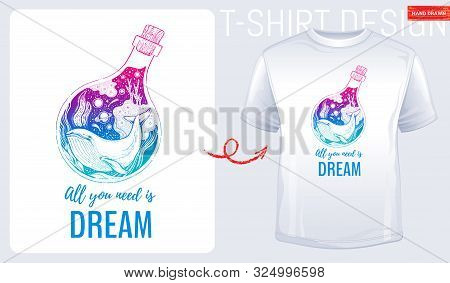 Trendy T-shirt Print Design. Whale In Hand Drawn Sketch Style. T Shirt With Underwater Life, Ocean,
