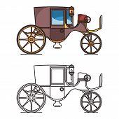 Vintage automobile or old car, XIX century cab poster