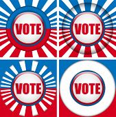 Vector - Vote Buttons. Set of four with Background poster