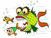angry toothed fish chasing a small fish poster