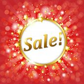 Red Sale Poster With Bokeh And Star, Vector Illustration poster
