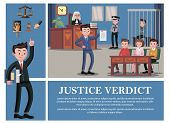 Flat judicial system composition with lawyer judge jury defendant police officer hand on Bible book gavel scales vector illustration poster