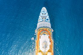 Close Up Aerial Top View Nose Of The Cruise Ship In The Turquoise Sea. Concept Of Summer Sea Cruise