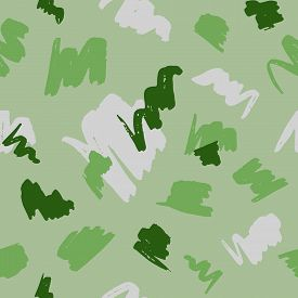 Seamless Geometric Pattern With Abstract Brush Strokes On Green Background.