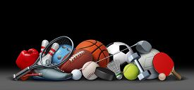 Sport Objects On Black And Sports Equipment With A Football Basketball Baseball Soccer Tennis And Go