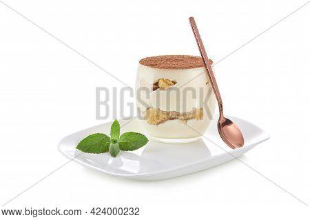 Classic Dessert Tiramisu In A Glass. Isolate On A White Background.
