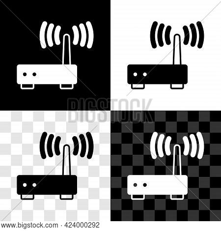 Set Router And Wi-fi Signal Icon Isolated On Black And White, Transparent Background. Wireless Ether