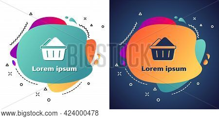 White Plastic Basin With Soap Suds Icon Isolated On White And Blue Background. Bowl With Water. Wash