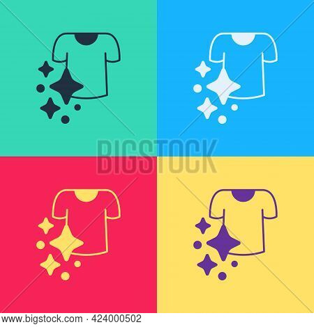Pop Art Drying Clothes Icon Isolated On Color Background. Clean Shirt. Wash Clothes On A Rope With C