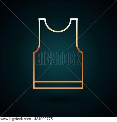 Gold Line Sleeveless T-shirt Icon Isolated On Dark Blue Background. Vector Illustration