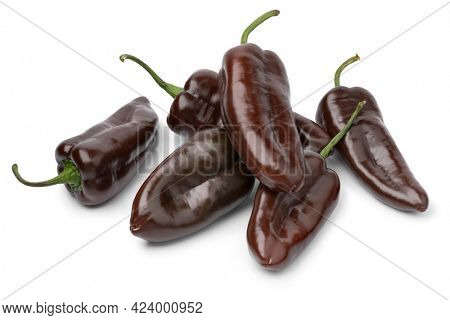 Heap of whole fresh chocolate mini pointed bell peppers close up isolated on white background background