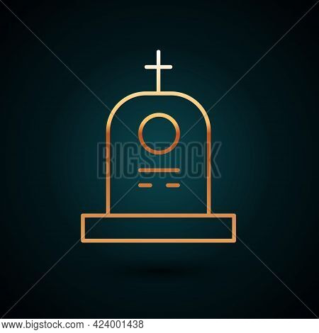 Gold Line Grave With Tombstone Icon Isolated On Dark Blue Background. Vector