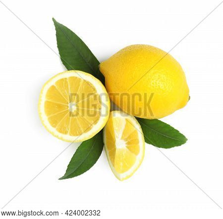 Fresh Ripe Lemons With Leaves On White Background, Top View