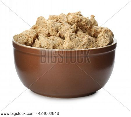 Dehydrated Soy Meat Chunks In Bowl On White Background