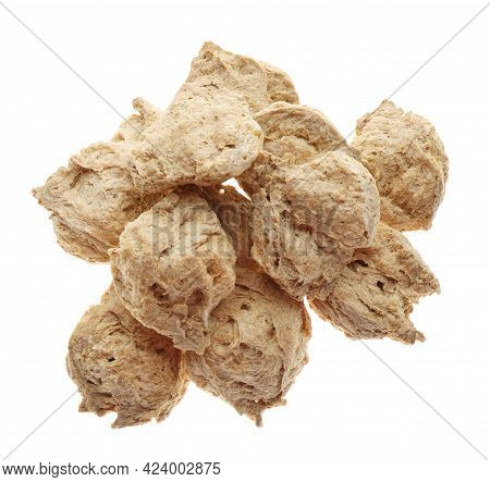 Dehydrated Soy Meat Chunks On White Background, Top View