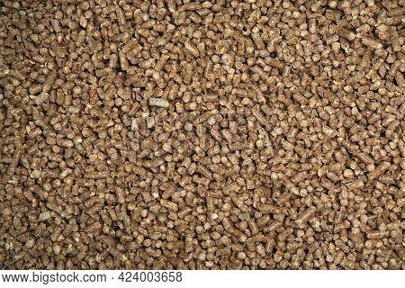 Wood Pellet Cat Litter As Background, Closeup