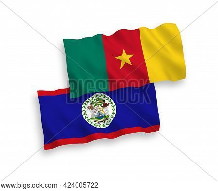 National Fabric Wave Flags Of Belize And Cameroon Isolated On White Background. 1 To 2 Proportion.