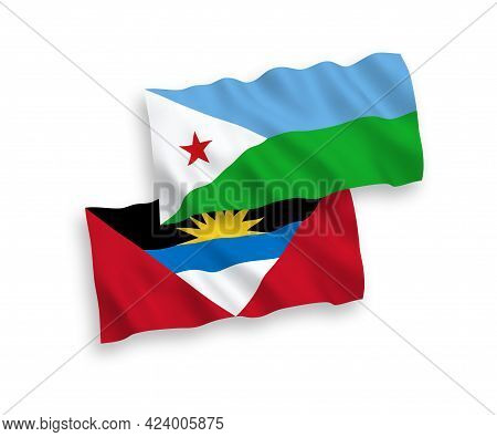 National Fabric Wave Flags Of Republic Of Djibouti And Antigua And Barbuda Isolated On White Backgro