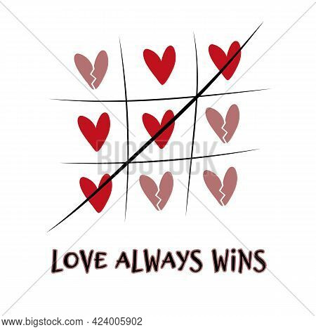 Tic-tac-toe Game From Red Hearts. Love Romantic Concept For Valentine's Day. Color Illustration With