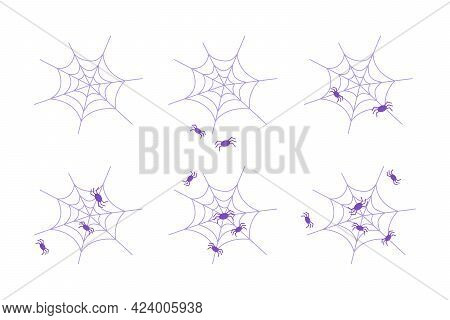 Set Of Purple Spider Web For Halloween With Spiders. Simple Flat Spiderweb Or Cobweb With Spiders, I