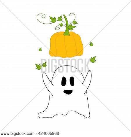 White Ghost With Orange Pumpkin Over His Head. Can Be Used As Festive Halloween Decoration With Cute