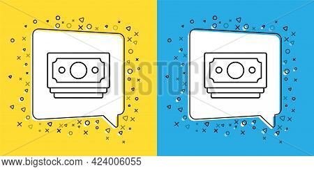 Set Line Stacks Paper Money Cash Icon Isolated On Yellow And Blue Background. Money Banknotes Stacks