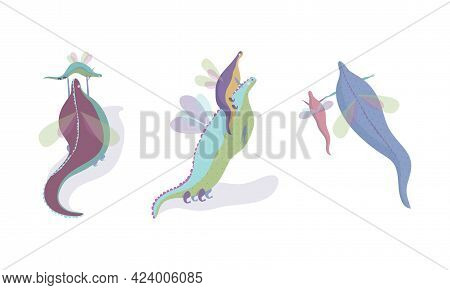 Fairy Dragon With Small Wings Playing With Its Cub Vector Set