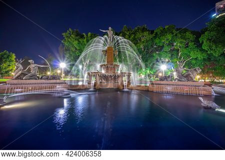 Colourful Vibrant Lights Of A Water Fountain In A Sydney Park Nsw Australia
