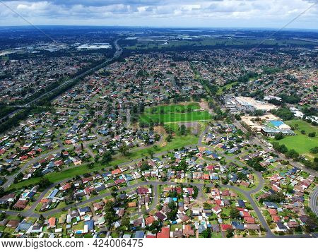 Panoramic Drone Aerial View Over St Clair Sydney Western Suburbs Nsw Australia