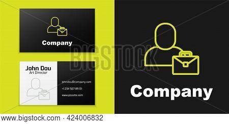 Logotype Line Freelancer Icon Isolated On Black Background. Freelancer Man Working On Laptop At His