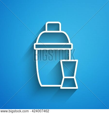 White Line Cocktail Shaker With Cocktail Glass Icon Isolated On Blue Background. Long Shadow. Vector