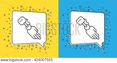 Set Line Prosthesis Hand Icon Isolated On Yellow And Blue Background. Futuristic Concept Of Bionic A