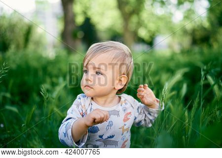 Serious Kid Sits In The Tall Grass. Portrait