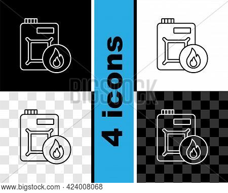 Set Line Canister For Motor Machine Oil Icon Isolated On Black And White, Transparent Background. Oi
